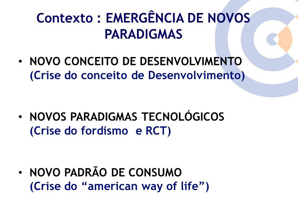 Clique para editar o estilo do título mestre Contexto : EMERGÊNCIA DE NOVOS PARADIGMAS NOVO CONCEITO DE DESENVOLVIMENTO (Crise do conceito de Desenvol