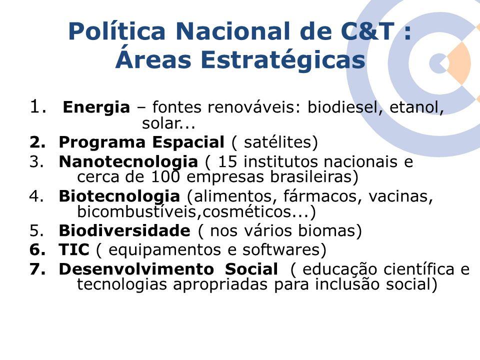 Clique para editar o estilo do título mestre Política Nacional de C&T : Áreas Estratégicas 1. Energia – fontes renováveis: biodiesel, etanol, solar...