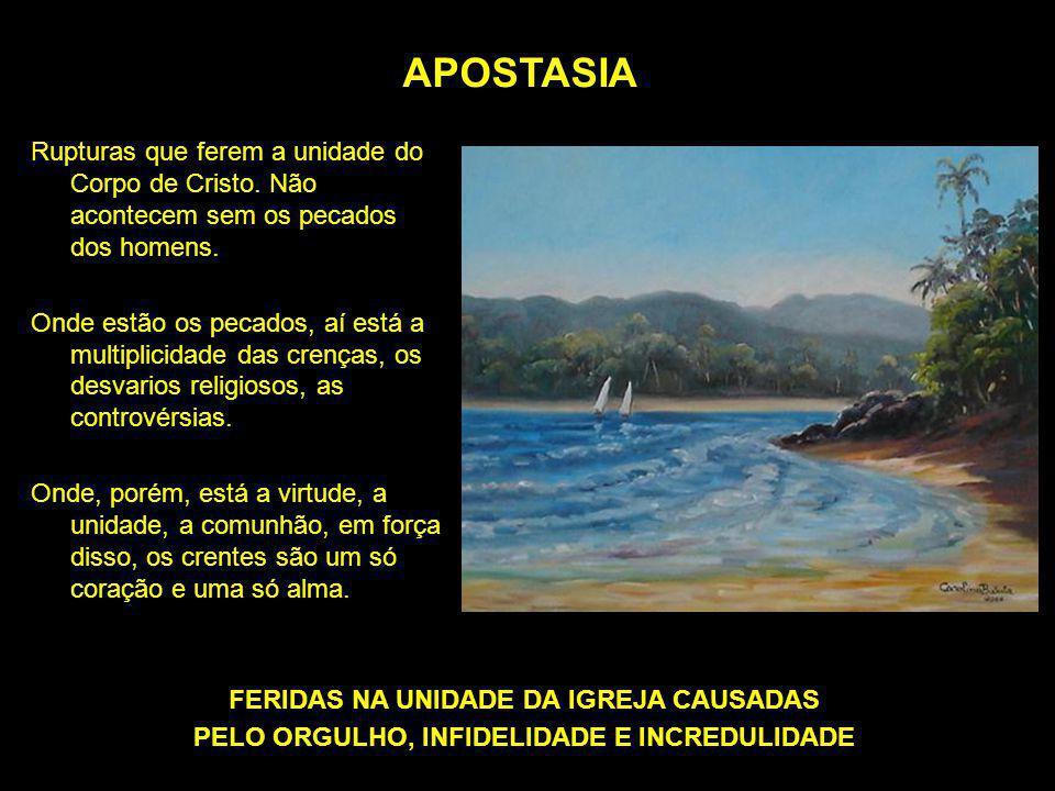 APOSTASIA Rupturas que ferem a unidade do Corpo de Cristo. Não acontecem sem os pecados dos homens. Onde estão os pecados, aí está a multiplicidade da