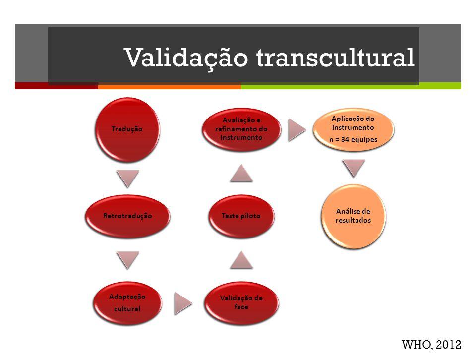 Validação transcultural Tradução Retrotradução Adaptação cultural Validação de face Teste piloto Avaliação e refinamento do instrumento Aplicação do i