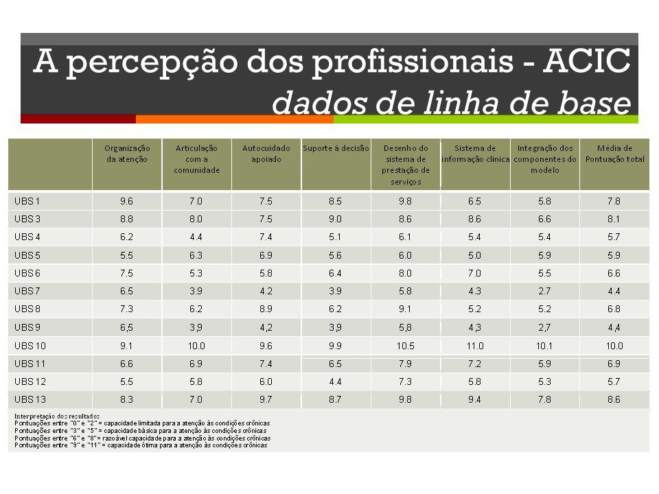 A percepção dos profissionais - ACIC dados de linha de base