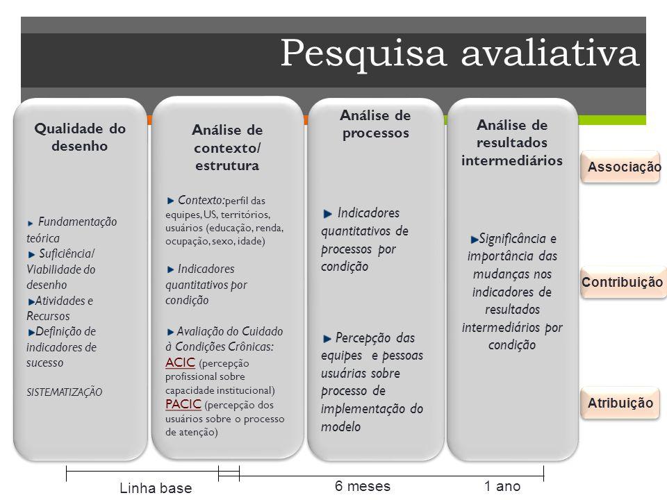 Pesquisa avaliativa Análise de processos Indicadores quantitativos de processos por condição Percepção das equipes e pessoas usuárias sobre processo d