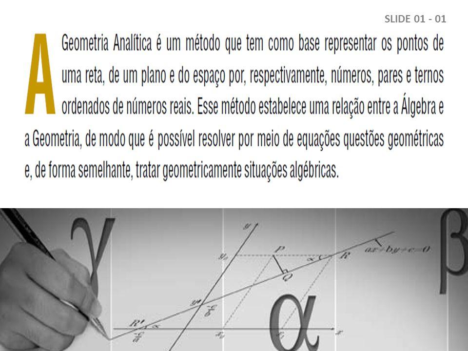 Dados Históricos Atribui-se a criação da Geometria Analítica a René Descartes, cuja obra La Géométrie (3.º apêndice do Discours de la Méthode) foi publicada em 1637 em Leyden, na Holanda.
