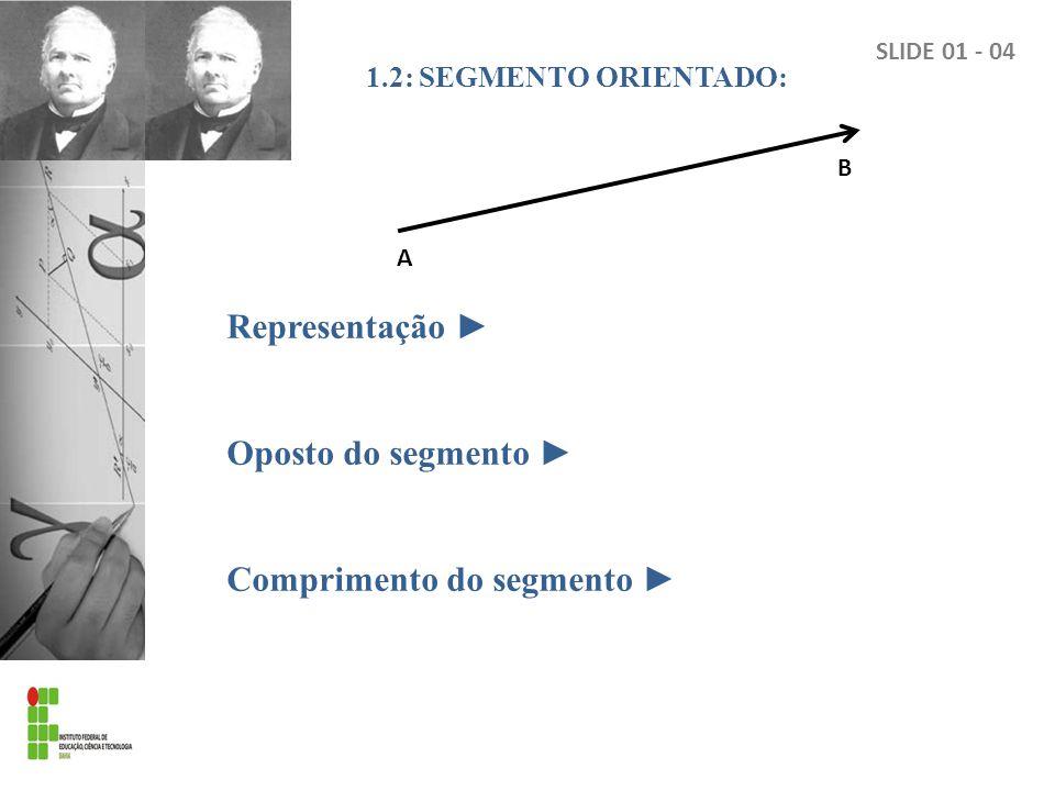 1.2: SEGMENTO ORIENTADO: Representação Oposto do segmento Comprimento do segmento A B SLIDE 01 - 04