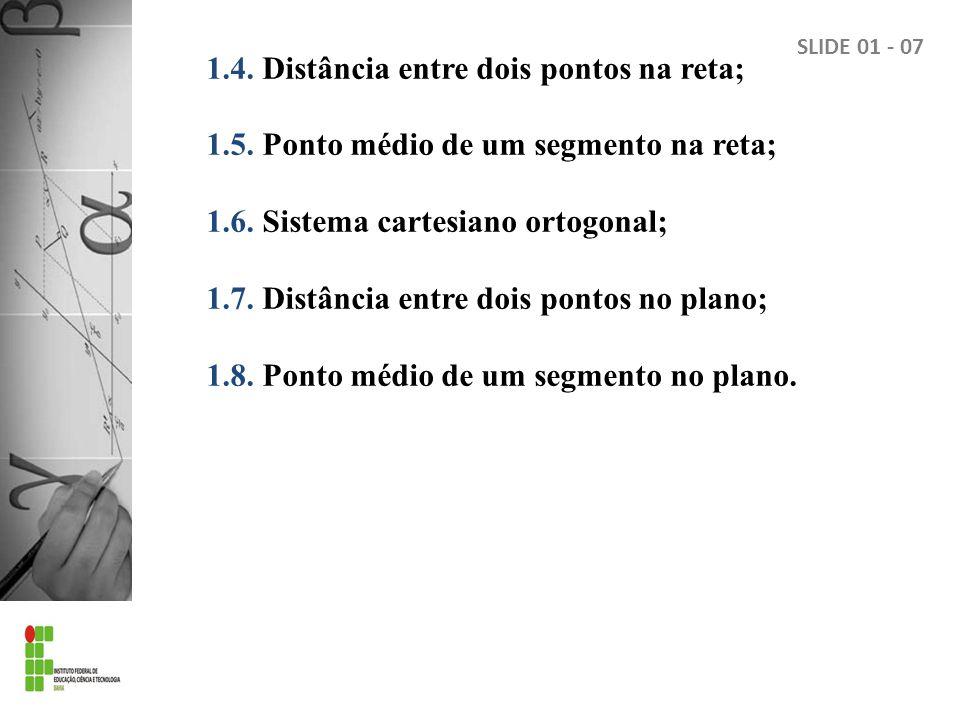 1.4.Distância entre dois pontos na reta; 1.5. Ponto médio de um segmento na reta; 1.6.