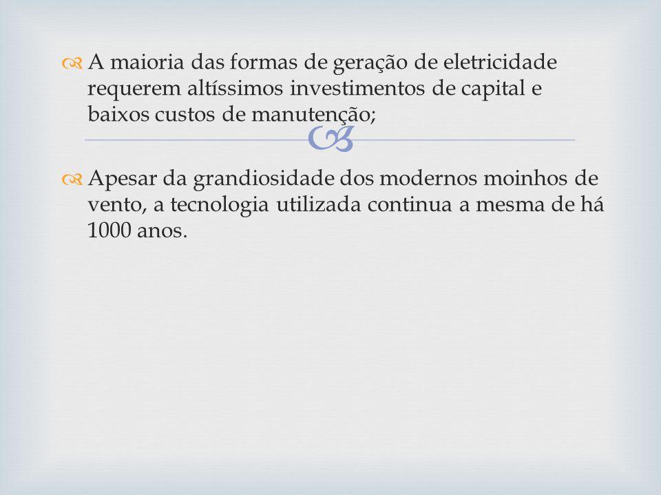 A maioria das formas de geração de eletricidade requerem altíssimos investimentos de capital e baixos custos de manutenção; Apesar da grandiosidade do