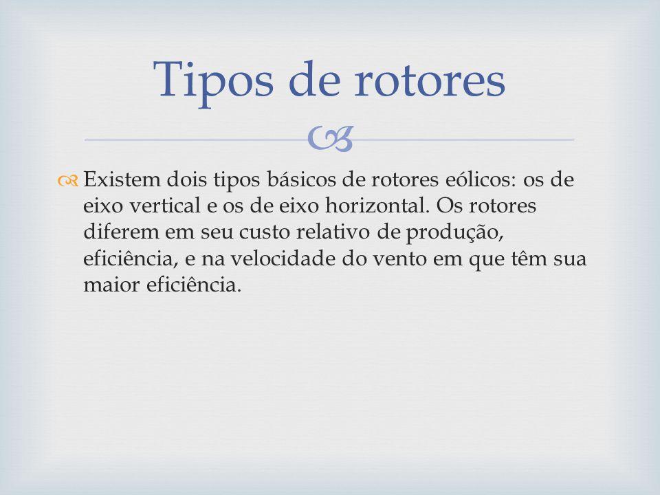 Existem dois tipos básicos de rotores eólicos: os de eixo vertical e os de eixo horizontal. Os rotores diferem em seu custo relativo de produção, efic