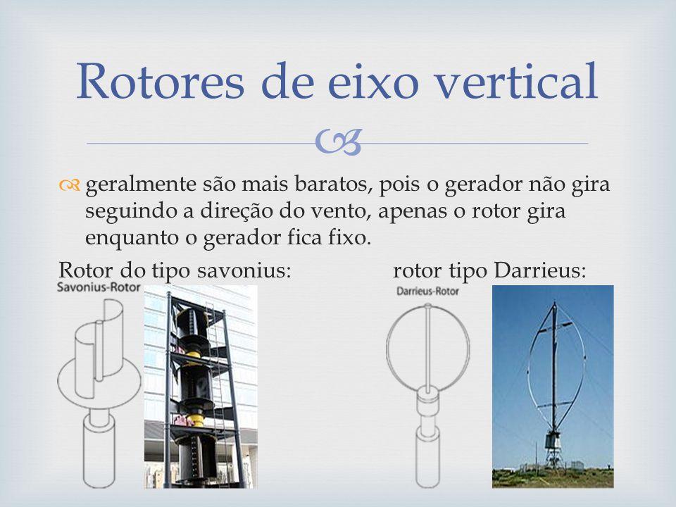 geralmente são mais baratos, pois o gerador não gira seguindo a direção do vento, apenas o rotor gira enquanto o gerador fica fixo. Rotor do tipo savo