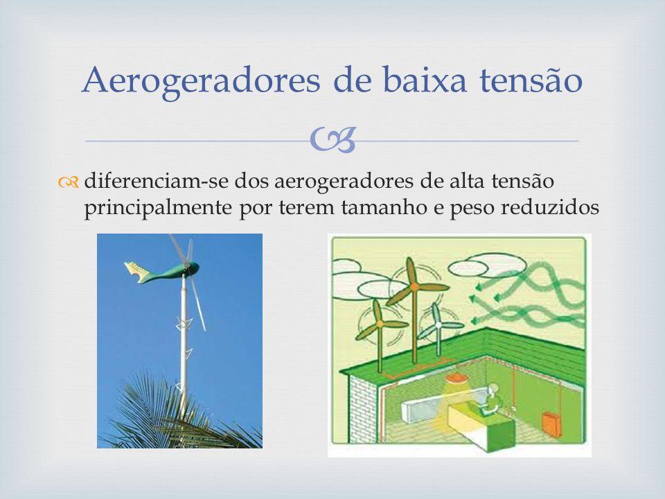 diferenciam-se dos aerogeradores de alta tensão principalmente por terem tamanho e peso reduzidos Aerogeradores de baixa tensão