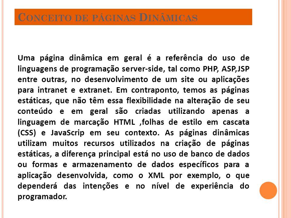 C ONCEITO DE PÁGINAS D INÂMICAS Uma página dinâmica em geral é a referência do uso de linguagens de programação server-side, tal como PHP, ASP,JSP ent