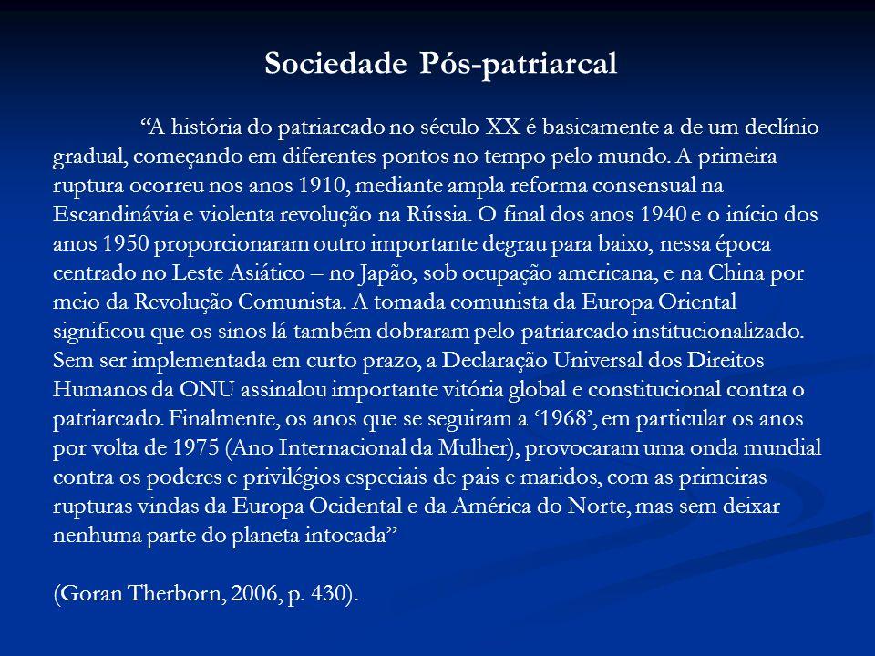 Sociedade Pós-patriarcal A história do patriarcado no século XX é basicamente a de um declínio gradual, começando em diferentes pontos no tempo pelo mundo.