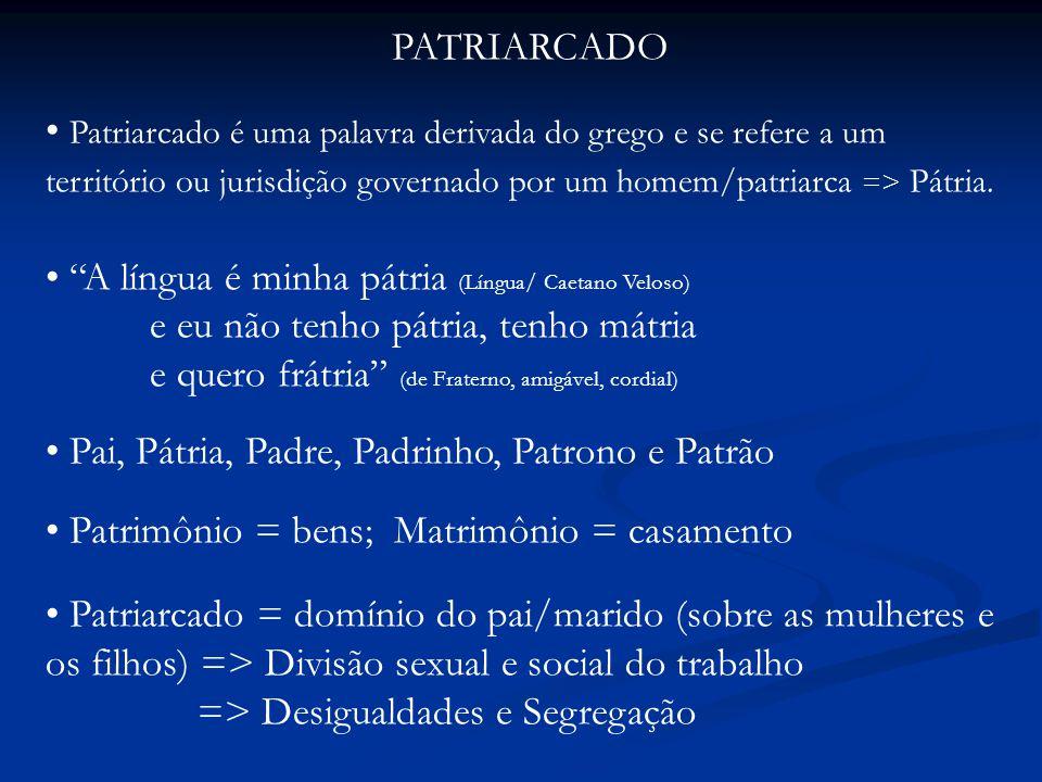 PATRIARCADO Patriarcado é uma palavra derivada do grego e se refere a um território ou jurisdição governado por um homem/patriarca => Pátria.