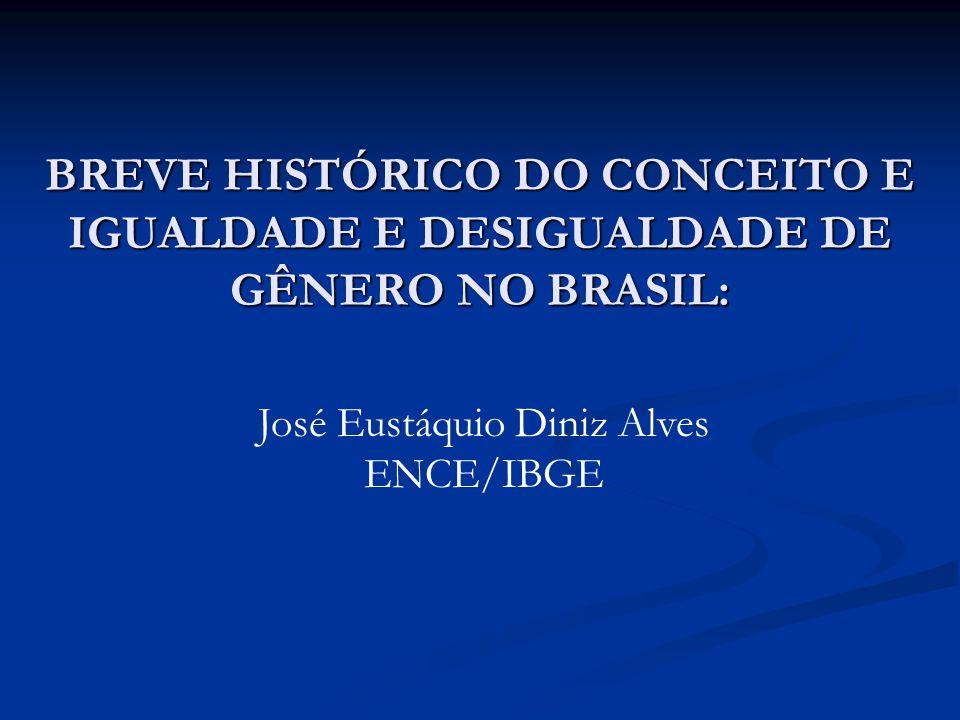 BREVE HISTÓRICO DO CONCEITO E IGUALDADE E DESIGUALDADE DE GÊNERO NO BRASIL: José Eustáquio Diniz Alves ENCE/IBGE