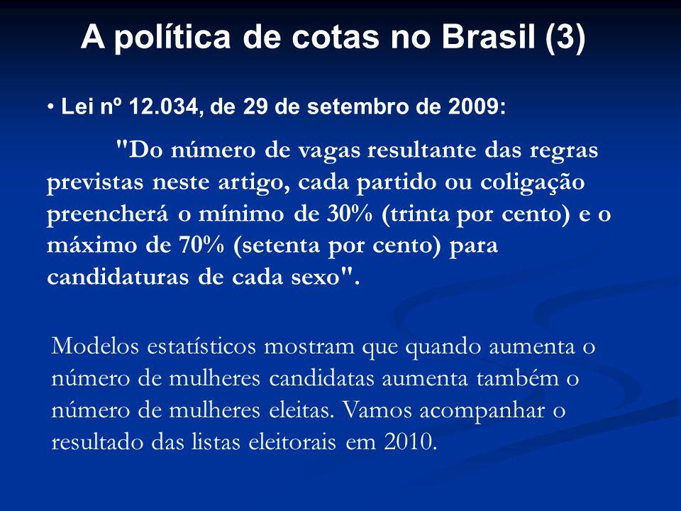 A política de cotas no Brasil (3) Lei nº 12.034, de 29 de setembro de 2009: Do número de vagas resultante das regras previstas neste artigo, cada partido ou coligação preencherá o mínimo de 30% (trinta por cento) e o máximo de 70% (setenta por cento) para candidaturas de cada sexo .