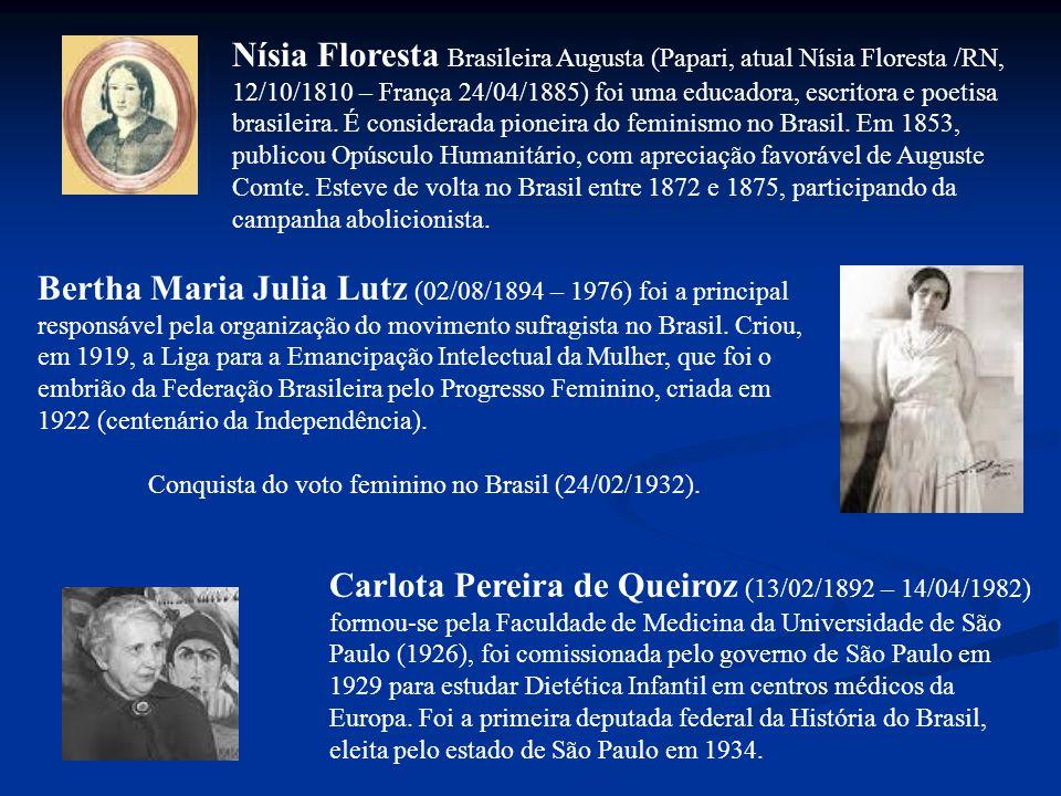 Bertha Maria Julia Lutz (02/08/1894 – 1976) foi a principal responsável pela organização do movimento sufragista no Brasil.