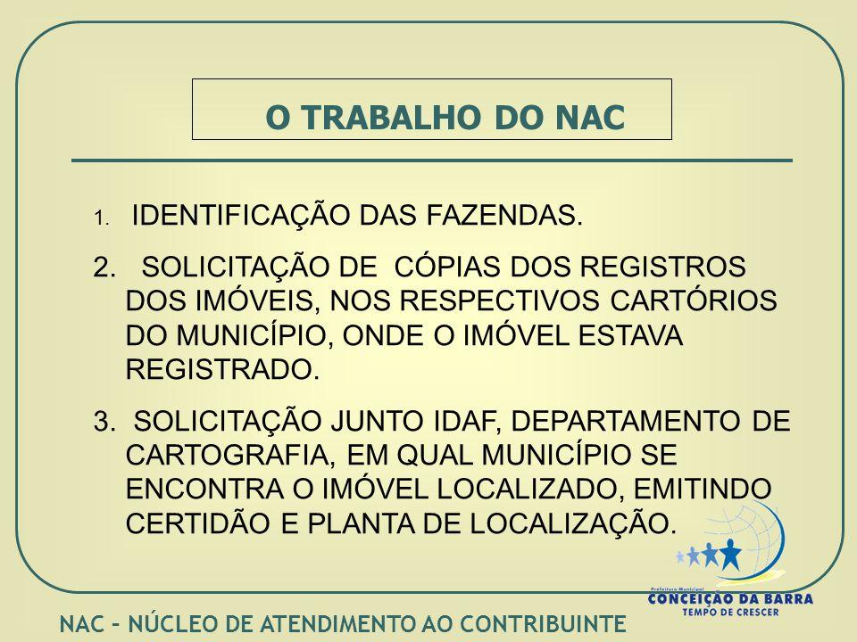 O TRABALHO DO NAC 1. IDENTIFICAÇÃO DAS FAZENDAS. 2.