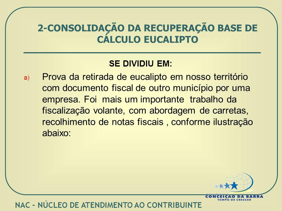2-CONSOLIDAÇÃO DA RECUPERAÇÃO BASE DE CÁLCULO EUCALIPTO SE DIVIDIU EM: a) Prova da retirada de eucalipto em nosso território com documento fiscal de outro município por uma empresa.