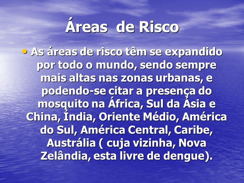Áreas de Risco As áreas de risco têm se expandido por todo o mundo, sendo sempre mais altas nas zonas urbanas, e podendo-se citar a presença do mosquito na África, Sul da Ásia e China, Índia, Oriente Médio, América do Sul, América Central, Caribe, Austrália ( cuja vizinha, Nova Zelândia, esta livre de dengue).