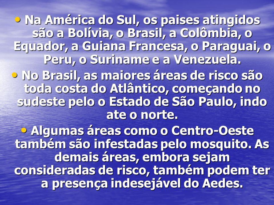 Na América do Sul, os paises atingidos são a Bolívia, o Brasil, a Colômbia, o Equador, a Guiana Francesa, o Paraguai, o Peru, o Suriname e a Venezuela