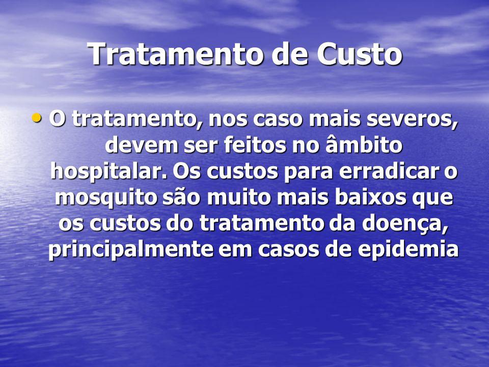 Tratamento de Custo O tratamento, nos caso mais severos, devem ser feitos no âmbito hospitalar. Os custos para erradicar o mosquito são muito mais bai