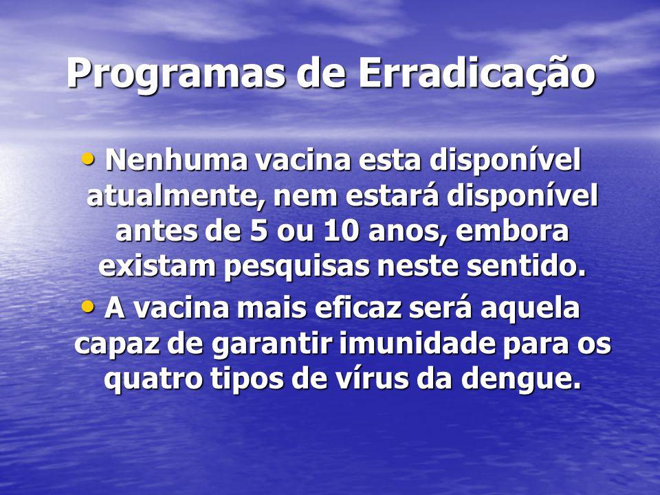 Programas de Erradicação Nenhuma vacina esta disponível atualmente, nem estará disponível antes de 5 ou 10 anos, embora existam pesquisas neste sentid