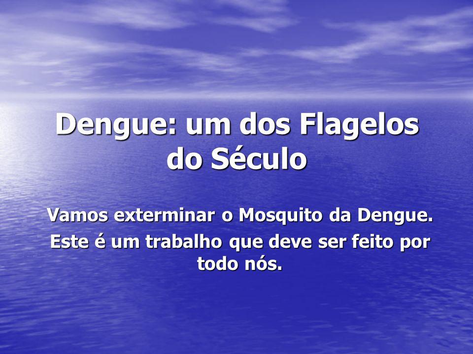 Dengue: um dos Flagelos do Século Vamos exterminar o Mosquito da Dengue. Este é um trabalho que deve ser feito por todo nós.