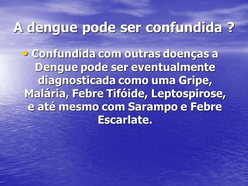 A dengue pode ser confundida ? Confundida com outras doenças a Dengue pode ser eventualmente diagnosticada como uma Gripe, Malária, Febre Tifóide, Lep