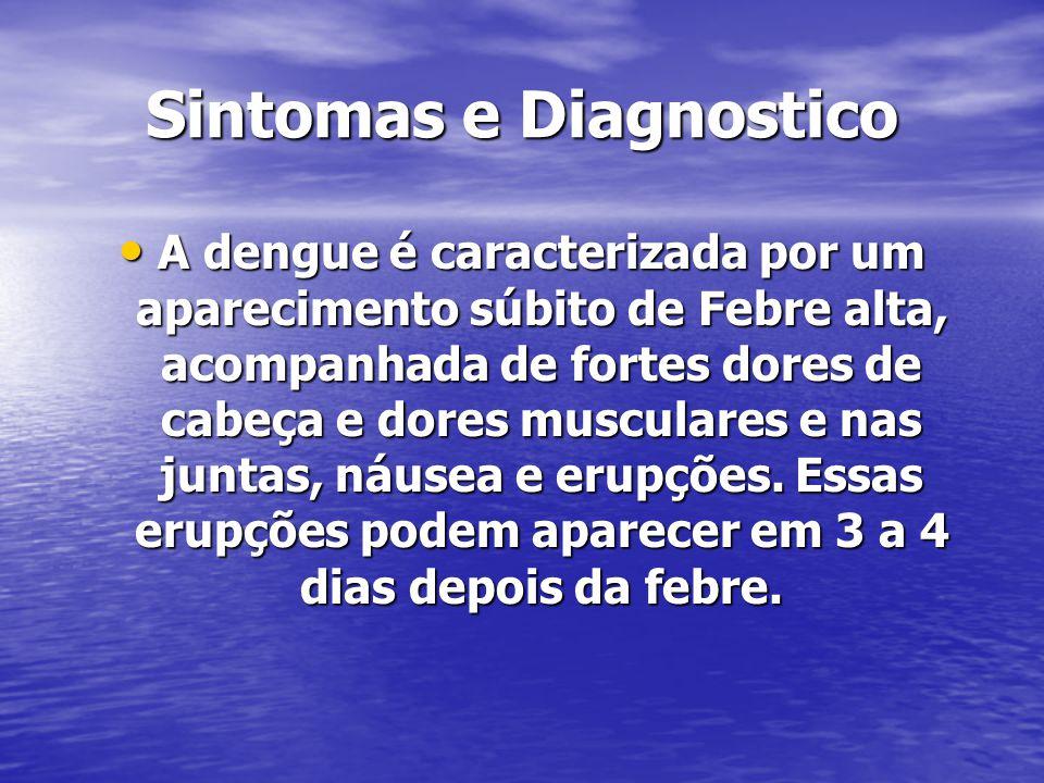 Sintomas e Diagnostico A dengue é caracterizada por um aparecimento súbito de Febre alta, acompanhada de fortes dores de cabeça e dores musculares e nas juntas, náusea e erupções.