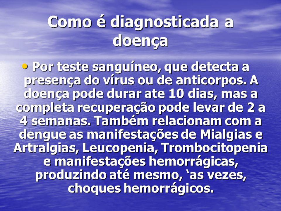 Como é diagnosticada a doença Por teste sanguíneo, que detecta a presença do vírus ou de anticorpos.