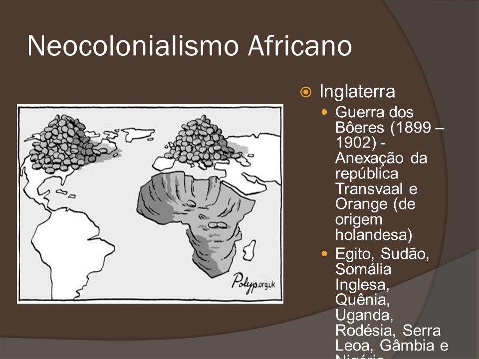 Inglaterra Guerra dos Bôeres (1899 – 1902) - Anexação da república Transvaal e Orange (de origem holandesa) Egito, Sudão, Somália Inglesa, Quênia, Uga