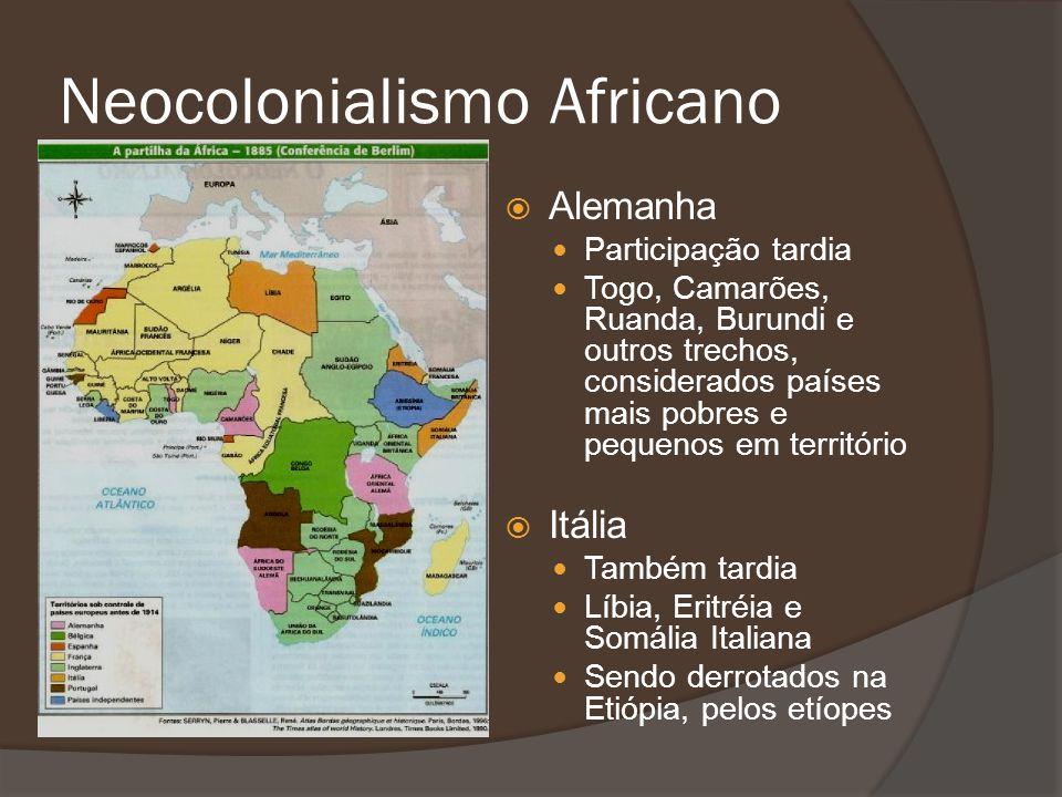 Alemanha Participação tardia Togo, Camarões, Ruanda, Burundi e outros trechos, considerados países mais pobres e pequenos em território Itália Também