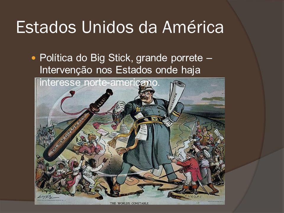 Política do Big Stick, grande porrete – Intervenção nos Estados onde haja interesse norte-americano. Estados Unidos da América