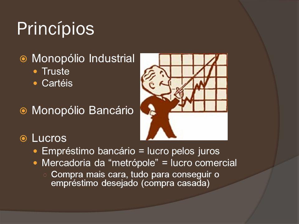 Princípios Monopólio Industrial Truste Cartéis Monopólio Bancário Lucros Empréstimo bancário = lucro pelos juros Mercadoria da metrópole = lucro comer