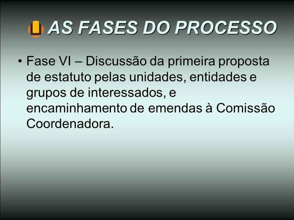 AS FASES DO PROCESSO Fase VI – Discussão da primeira proposta de estatuto pelas unidades, entidades e grupos de interessados, e encaminhamento de emen