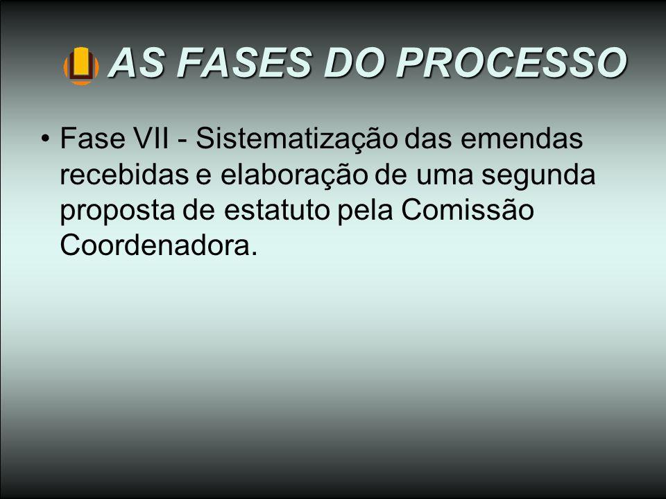 AS FASES DO PROCESSO Fase VII - Sistematização das emendas recebidas e elaboração de uma segunda proposta de estatuto pela Comissão Coordenadora.