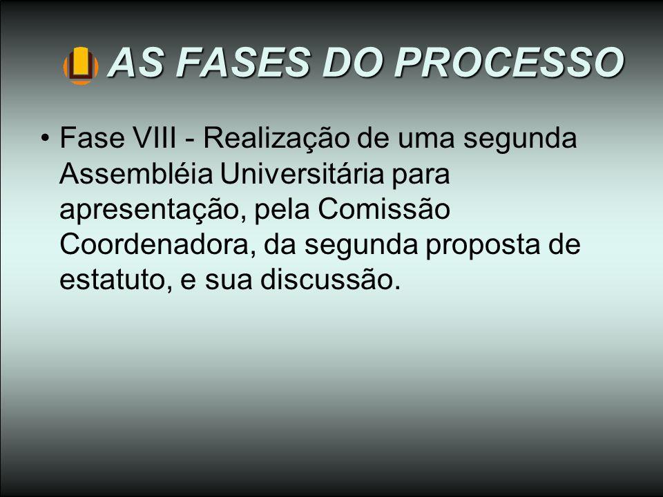 AS FASES DO PROCESSO Fase VIII - Realização de uma segunda Assembléia Universitária para apresentação, pela Comissão Coordenadora, da segunda proposta
