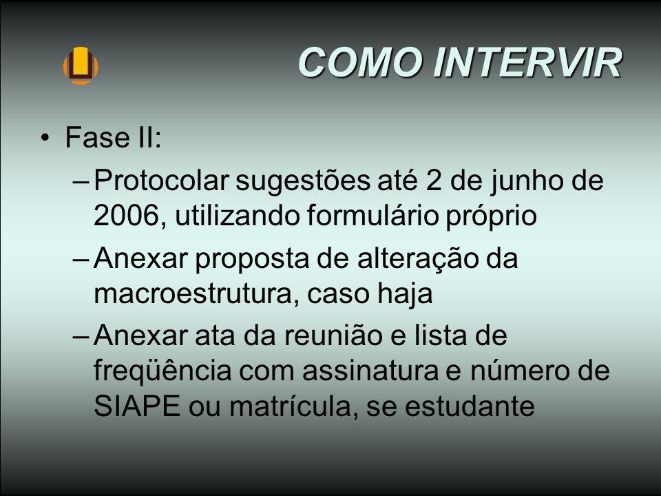 COMO INTERVIR Fase II: –Protocolar sugestões até 2 de junho de 2006, utilizando formulário próprio –Anexar proposta de alteração da macroestrutura, ca