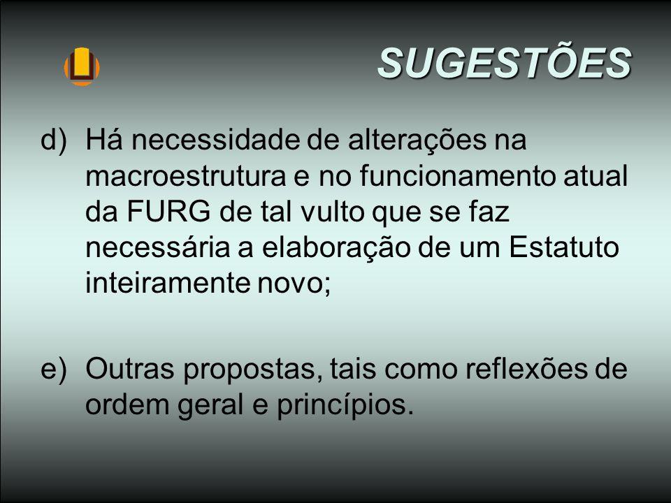 SUGESTÕES d)Há necessidade de alterações na macroestrutura e no funcionamento atual da FURG de tal vulto que se faz necessária a elaboração de um Esta