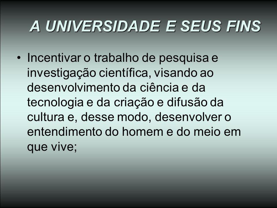 A UNIVERSIDADE E SEUS FINS Incentivar o trabalho de pesquisa e investigação científica, visando ao desenvolvimento da ciência e da tecnologia e da cri