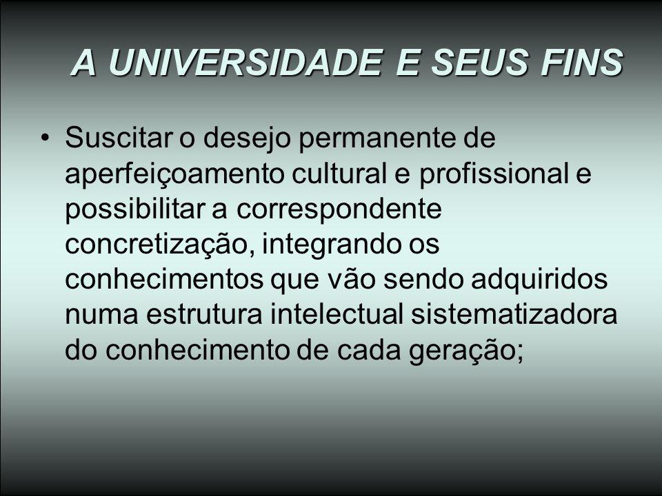 A UNIVERSIDADE E SEUS FINS Suscitar o desejo permanente de aperfeiçoamento cultural e profissional e possibilitar a correspondente concretização, inte
