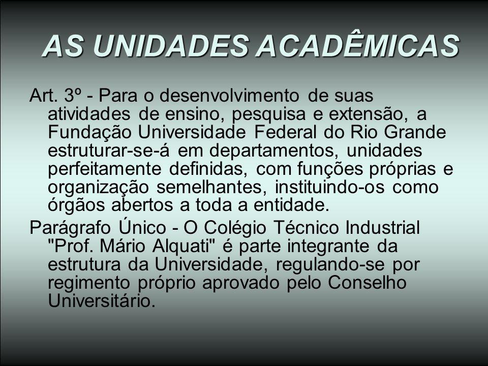 AS UNIDADES ACADÊMICAS Art. 3º - Para o desenvolvimento de suas atividades de ensino, pesquisa e extensão, a Fundação Universidade Federal do Rio Gran