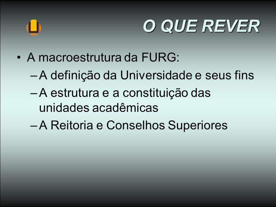 O QUE REVER O QUE REVER A macroestrutura da FURG: –A definição da Universidade e seus fins –A estrutura e a constituição das unidades acadêmicas –A Re