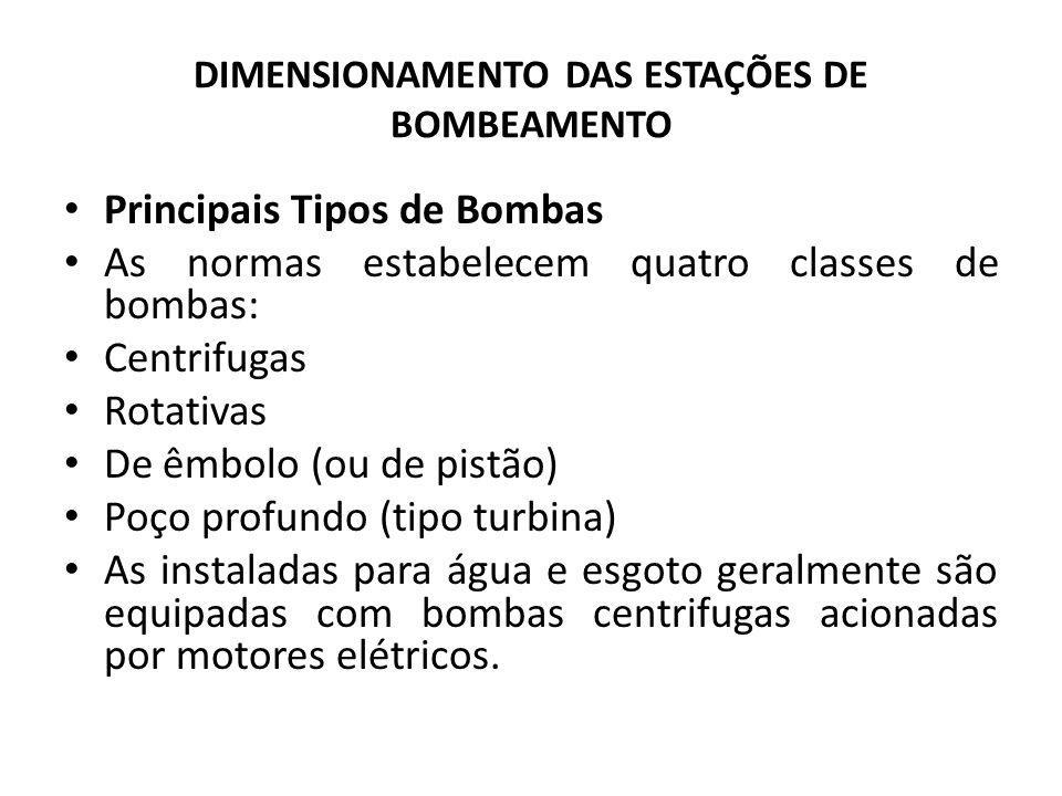 DIMENSIONAMENTO DAS ESTAÇÕES DE BOMBEAMENTO Principais Tipos de Bombas As normas estabelecem quatro classes de bombas: Centrifugas Rotativas De êmbolo