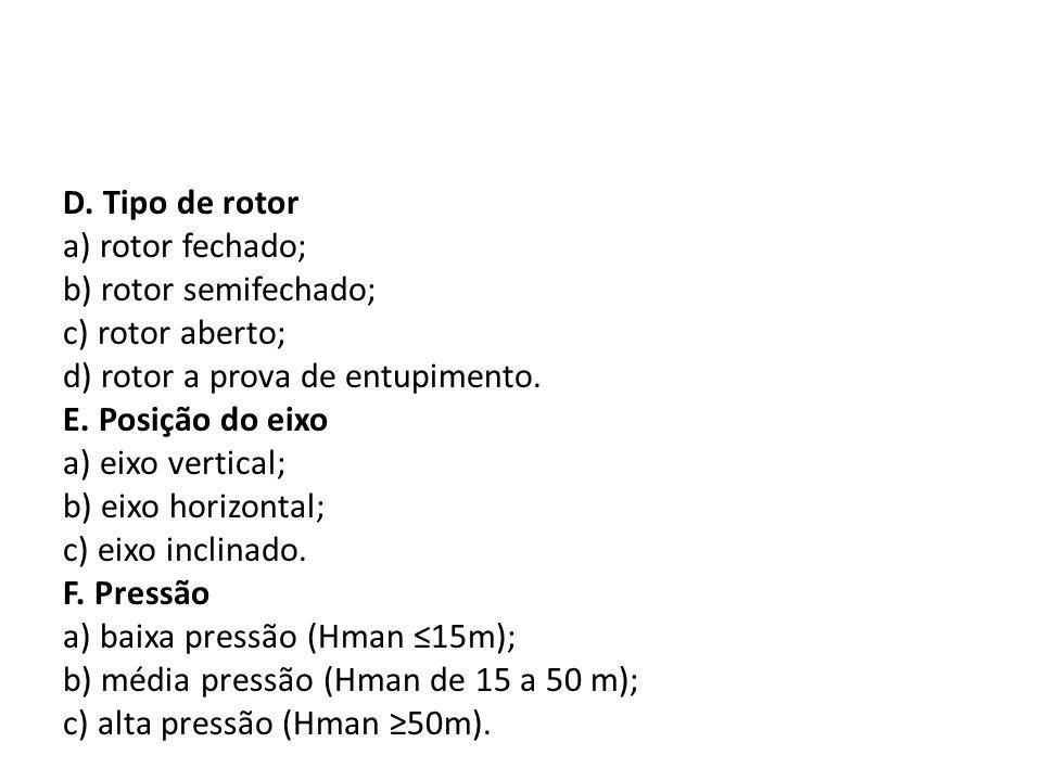 D. Tipo de rotor a) rotor fechado; b) rotor semifechado; c) rotor aberto; d) rotor a prova de entupimento. E. Posição do eixo a) eixo vertical; b) eix
