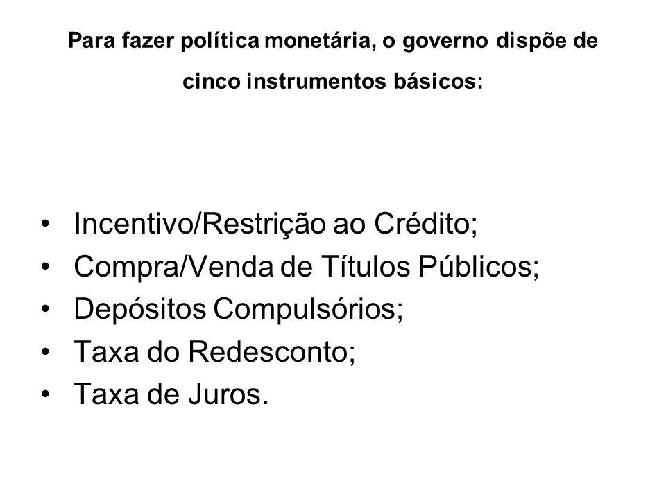 Para fazer política monetária, o governo dispõe de cinco instrumentos básicos: Incentivo/Restrição ao Crédito; Compra/Venda de Títulos Públicos; Depós