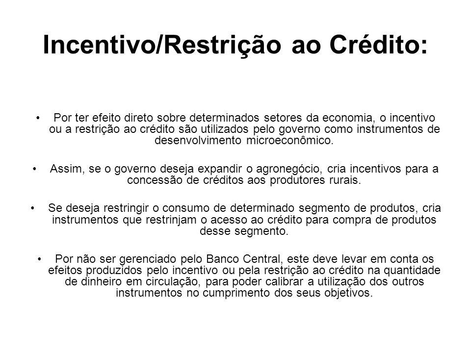 Incentivo/Restrição ao Crédito: Por ter efeito direto sobre determinados setores da economia, o incentivo ou a restrição ao crédito são utilizados pel