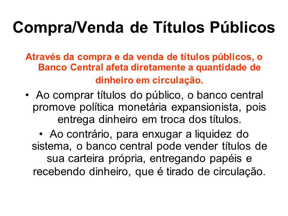 Compra/Venda de Títulos Públicos Através da compra e da venda de títulos públicos, o Banco Central afeta diretamente a quantidade de dinheiro em circu