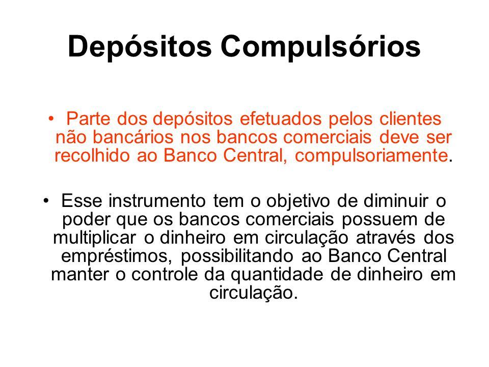 Depósitos Compulsórios Parte dos depósitos efetuados pelos clientes não bancários nos bancos comerciais deve ser recolhido ao Banco Central, compulsor