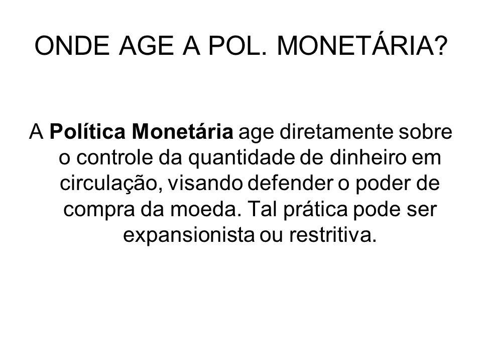 ONDE AGE A POL. MONETÁRIA? A Política Monetária age diretamente sobre o controle da quantidade de dinheiro em circulação, visando defender o poder de