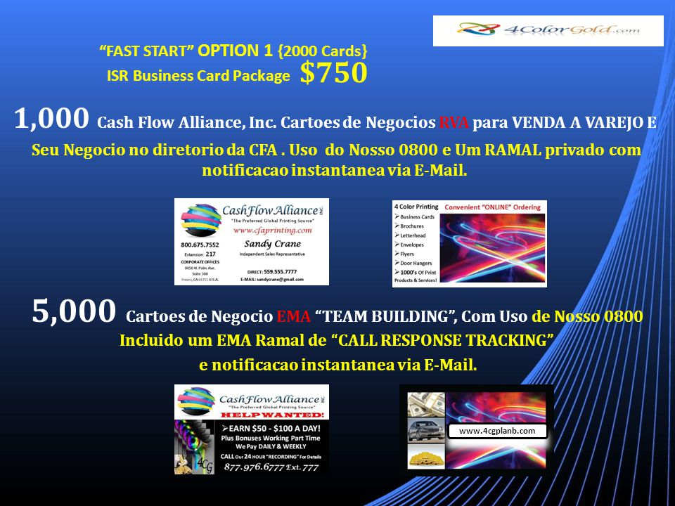 FAST START OPTION 1 {2000 Cards} ISR Business Card Package $750 www.4cgplanb.com 1,000 Cash Flow Alliance, Inc.